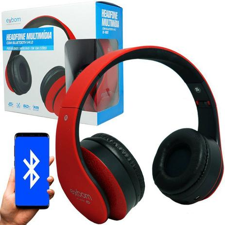 bdc77e5a5 Fone Ouvido Headphone Bluetooth Sem Fio Dobrável Estéreo Fm Micro Sd Mp3 P2  Exbom HF-400BT Vermelho