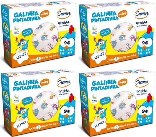 462d1e96328222 Fralda De Pano Cremer Galinha Pintadinha Kit C/ 4 Caixas - 70x68cm