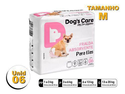 Imagem de Fralda Higiênica P/cães Fêmeas - Dog's Care Tam M - 06 Unid