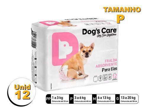 Imagem de Fralda Higiênica P/cães Fêmeas - Dog's Care Tam P - 12 Unid