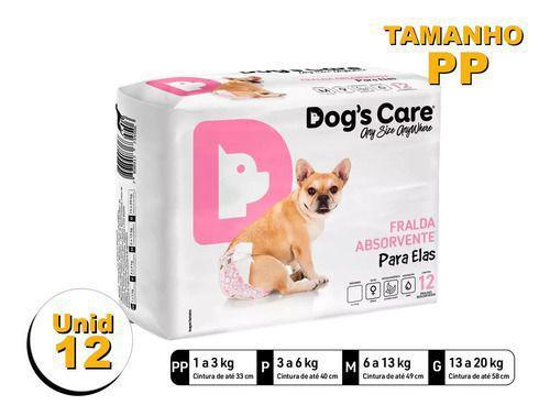 Imagem de Fralda Higiênica P/cães Fêmeas - Dog's Care Tam Pp - 12 Unid