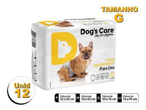 Imagem de Fralda Higiênica P/cães Machos - Dog's Care Tam G - 12 Unid