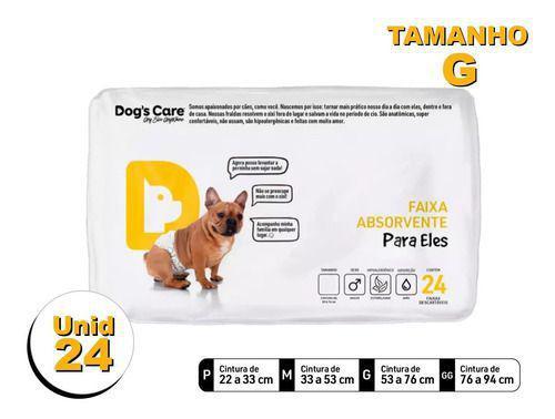 Imagem de Fralda Higiênica P/cães Machos - Dog's Care Tam G - 24 Unid
