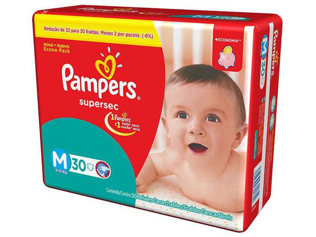 Fralda Pampers Supersec M - 30 Unidades