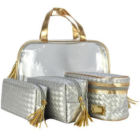 9b9f5d038 Frasqueiras Necessaire Feminina Luxo Prata Kit 4 Peças CBRN08223 - Commerce  brasil