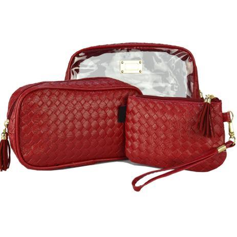 49d759a87 Frasqueiras Necessaire Feminina Luxo Vermelho Kit 3 Peças CBRN08315 -  Commerce brasil