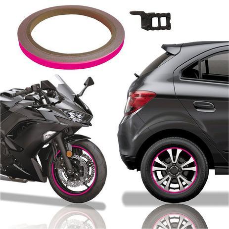 Imagem de Friso De Roda Adesivo Não Refletivo Carro Aro Moto Honda Yamaha Suzuki  Pink