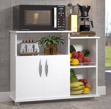 Imagem de Fruteira Balcão 2 Portas 2 Cestos Chão Cozinha Cor Branco