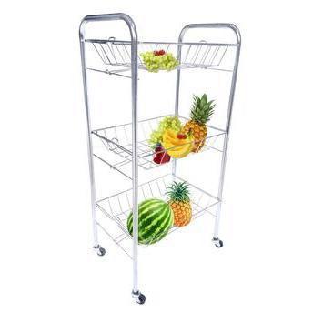 Imagem de Fruteira de chao aço cromado com 3 bandejas cozinha porta frutas