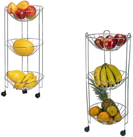 Imagem de Fruteira de chao aramado com 3 andares + rodinha 69x29cm