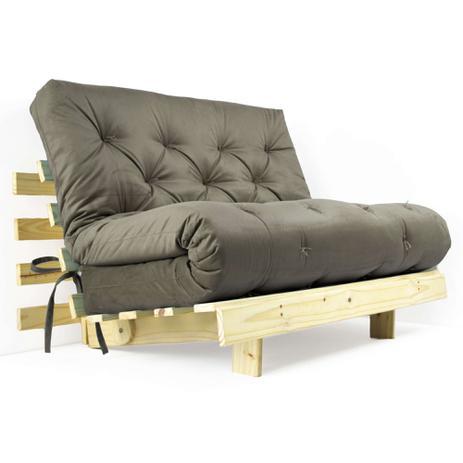Imagem de Futon Casal Tokio Sofa Cama Cinza Com Madeira Maciça