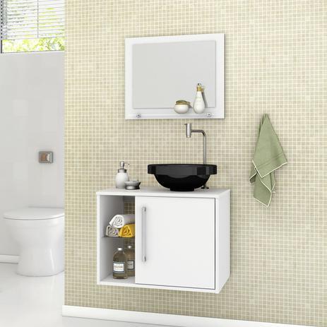 Gabinete Armario Banheiro Jupiter Com Cuba Cor Branco Moveis Bechara