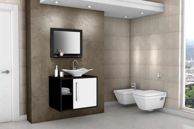 Imagem de Gabinete Armário Para Banheiro Com Pia Baden Fresno_Branco