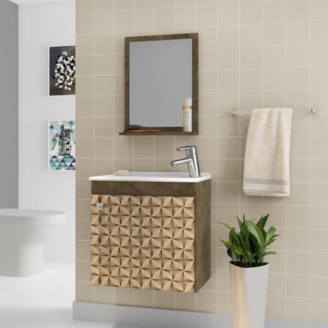 Gabinete Armário Para Banheiro Com Pia Siena Madeira 3d Moveis Bechara