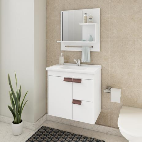 Gabinete Banheiro 1 Porta 2 Gavetas C Pia Tulipa Cor Branco Mgm Móveis