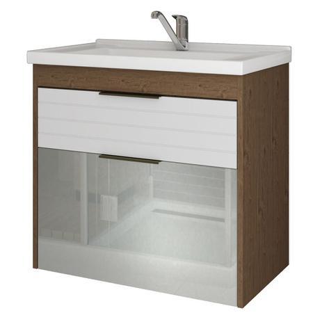 Imagem de Gabinete Banheiro 60cm Porta Reflecta com Pia Azaleia Amendoa/Branco
