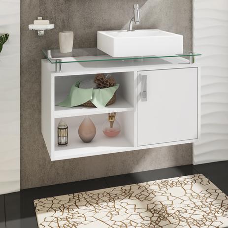 Gabinete Banheiro Braga 80cm Cpia E Prateleira Cor Branco Mgm Móveis