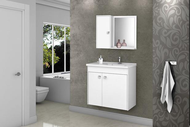 Imagem de Gabinete Banheiro com Pia Munique Branco_Branco