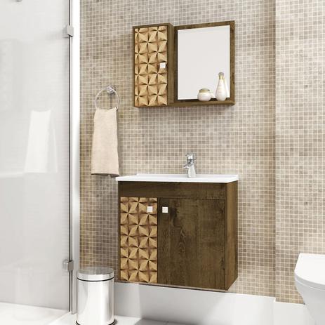 Gabinete Banheiro Com Pia Munique Madeira 3d Moveis Bechara