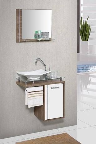 Gabinete Banheiro Mm Orquídea Com Vidro 60cm Carvalho Branco