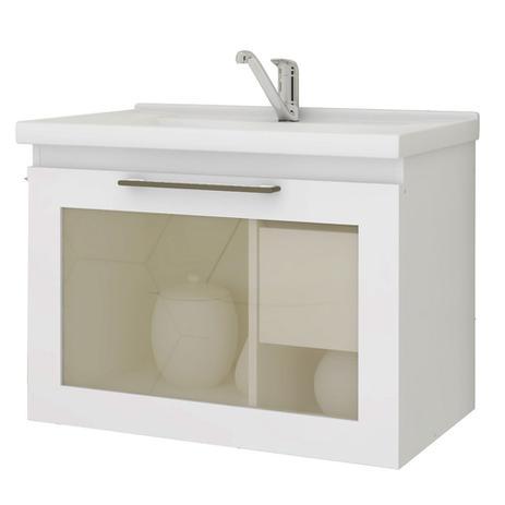 Gabinete Banheiro Porta Reflecta Com Pia Hibisco Mgm Branco Mgm Moveis