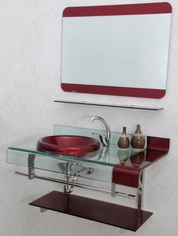 Imagem de Gabinete Banheiro Vidro Estilo Chopin Vermelho 70 cm