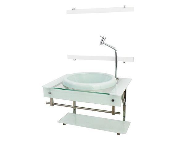 Imagem de Gabinete com cuba para banheiro de vidro iqx 60cm inox com cuba chapeu - branco
