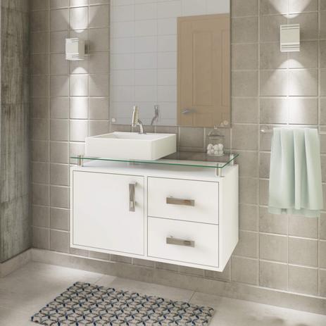 Imagem de Gabinete de Banheiro 1 Cuba Sobreposta em Base de Vidro Évora MGM Móveis Branco