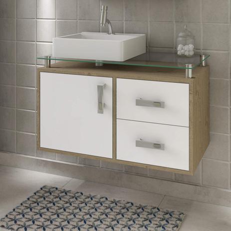 Imagem de Gabinete de Banheiro 1 Cuba Sobreposta em Base de Vidro Évora MGM Móveis Carvalho/Branco