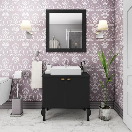 Imagem de Gabinete De Banheiro Provençal Balcão Espelho Preto