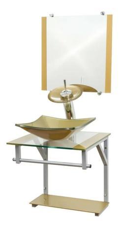Imagem de Gabinete de Vidro 40x40cm para Banheiro - Cuba Quadrada - Cores - Dahora