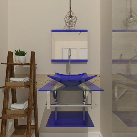 Imagem de Gabinete de vidro 45cm iq inox com cuba quadrada - azul escuro