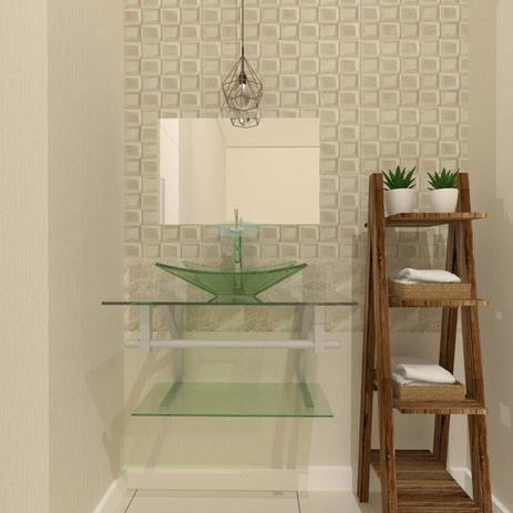 Imagem de Gabinete de vidro 60cm ac com cuba retangular - incolor