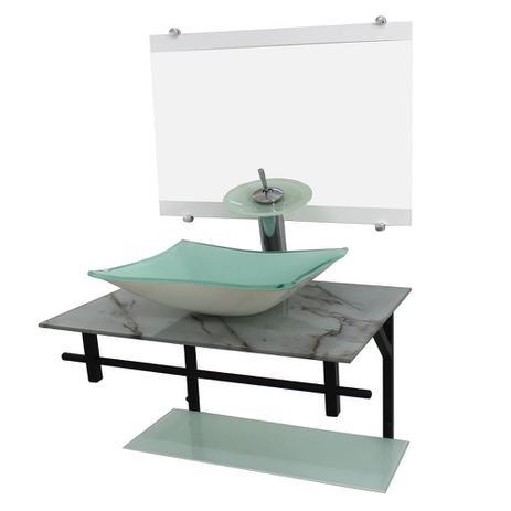 Imagem de Gabinete de vidro 60cm ap com cuba retangular -mármore branco