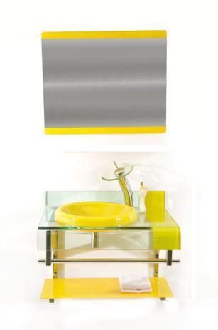 Imagem de Gabinete de vidro 60cm curvado duplo inox com cuba chapéu - amarelo