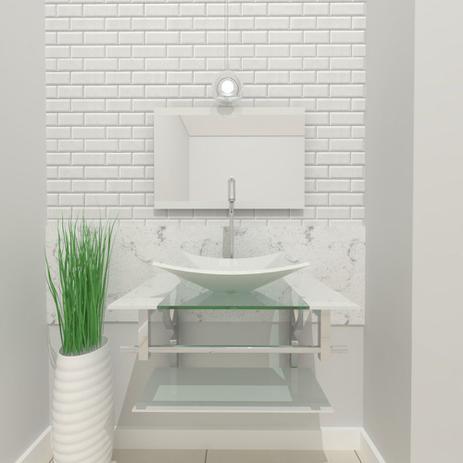 Imagem de Gabinete de vidro 60cm iq inox com cuba retangular - branco