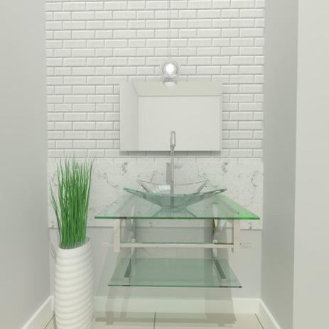 Imagem de Gabinete de vidro 60cm iq inox com cuba retangular - incolor