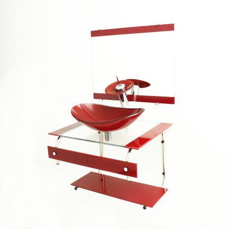 Imagem de Gabinete de vidro 60cm it inox com cuba oval - vermelho cereja