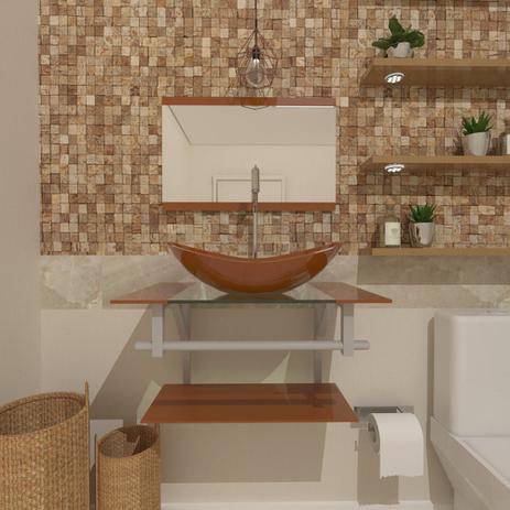 Imagem de Gabinete de Vidro 60cm para Banheiro Cuba Oval - Sérvia