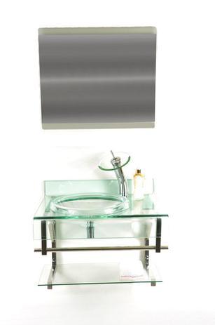 Imagem de Gabinete de vidro 70cm curvado duplo inox com cuba chapéu - incolor