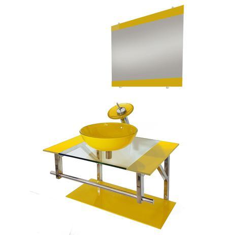 Imagem de Gabinete de vidro 70cm iq inox com cuba redonda - amarelo