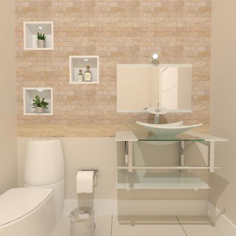Imagem de Gabinete de vidro 70cm iq inox com cuba retangular - branco