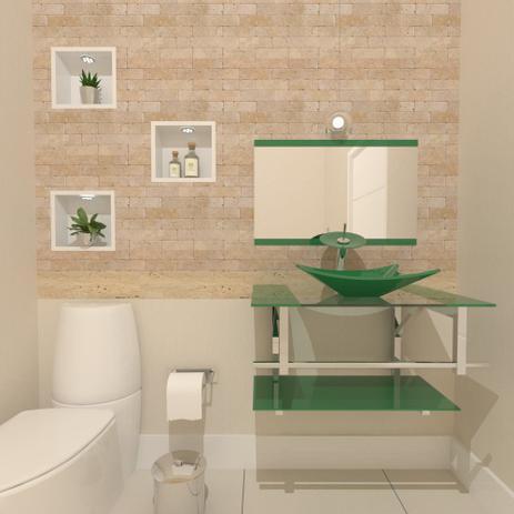 Imagem de Gabinete de vidro 70cm iq inox com cuba retangular - verde