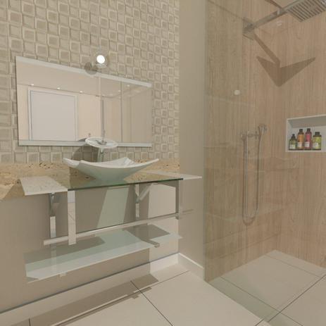 Imagem de Gabinete de vidro 80cm iq inox com cuba quadrada - branco