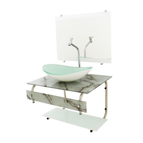 Imagem de Gabinete de vidro para banheiro 60cm it inox com cuba oval - mármore branco