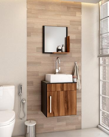 Imagem de Gabinete P/Banheiro C/cuba Q32 e Espelheira Liz 45cm