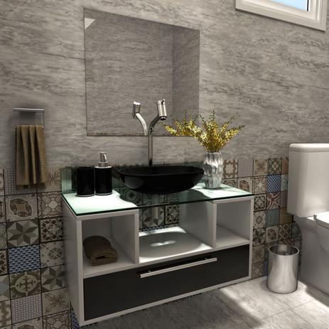 Imagem de Gabinete para Banheiro 1 Gaveta Cuba com Espelho Tampo Vidro Bahrein I7 Branco/Preto