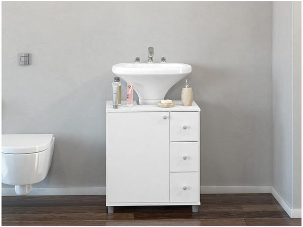 Gabinete para Banheiro 1 Porta 3 Gavetas - Politorno