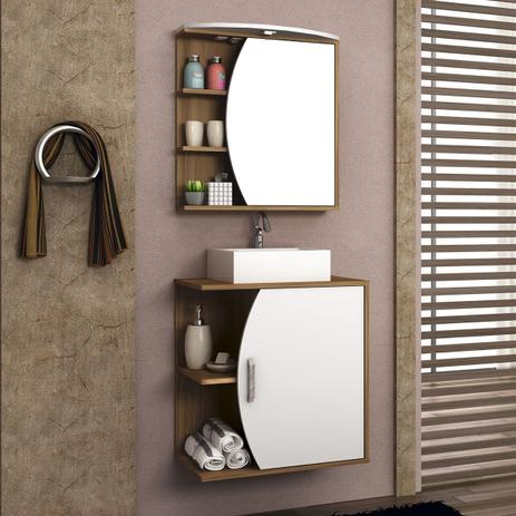 Imagem de Gabinete Para Banheiro Bosi Duna Cuba E Espelheira 60Cm Nogal/Bco