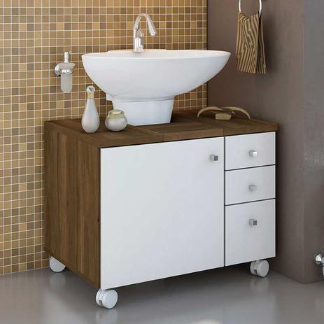 Gabinete Para Banheiro Com 1 Porta E 3 Gavetas Mimo Móveis Albatroz